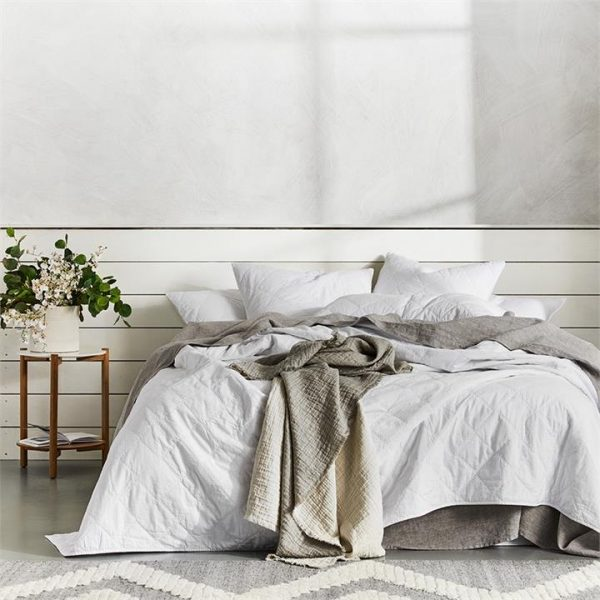 Home Republic Quilted Stonewashed Cotton Queen - White By Adairs