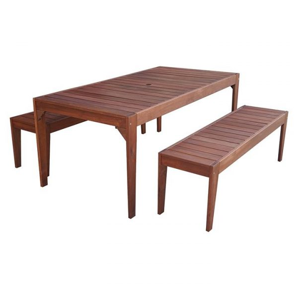 Lazio 3-Piece Outdoor Dining Set, Backless Benches