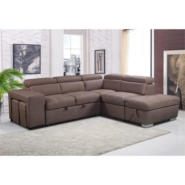 Peoria Fabric Corner Sofa / Pull Out Sofa Bed, 2 Seater with RHF Chasie & Ottomans