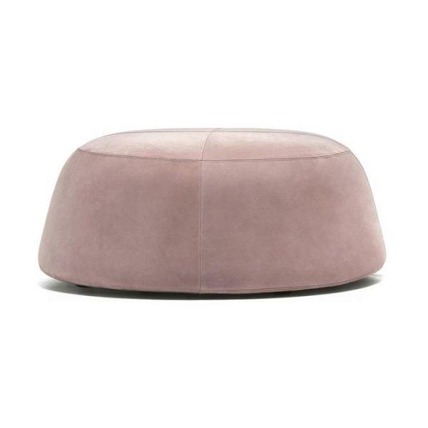 Pippa Velvet Fabric Round Ottoman, Large, Blush