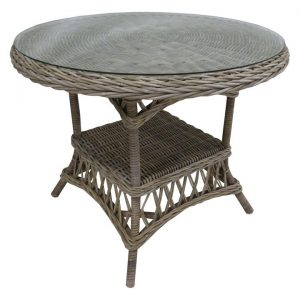 Amos Glass Topped Rattan Round Dining Table, 100cm