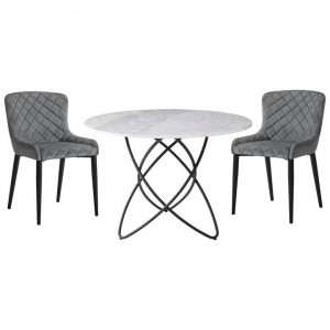 Aria 5 Piece Marble Top Round Dining Table Set, 110cm