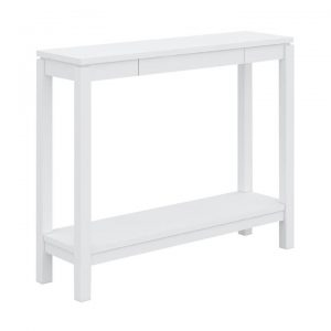 Braque Solid Rubberwood Timber Console Table, 96cm, White