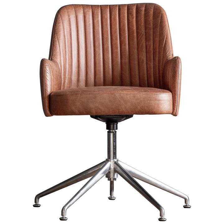 Donisi Leather Swivel Office Chair, Brown Leather Office Chair