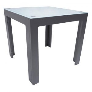 Dali Outdoor Side Table, Silver/White