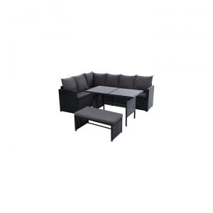 Kenway 8-Seater Outdoor Sofa Dining Set, Black