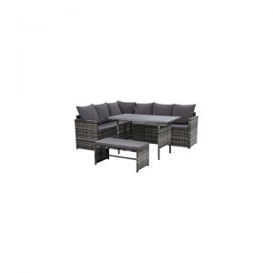 Kenway 8-Seater Outdoor Sofa Dining Set, Mixed Grey