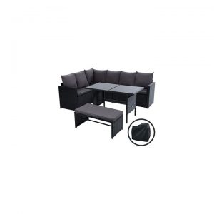 Kenway 8-Seater Outdoor Sofa Dining Set With Storage Cover, Black
