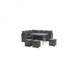 Kenway 9-Seater Outdoor Sofa Dining Set, Mixed Grey