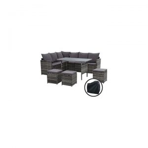 Kenway 9-Seater Outdoor Sofa Dining Set With Storage Cover, Mixed Grey