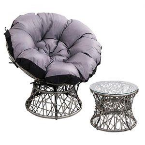 Renedek Outdoor Papasan Chair & Side Table