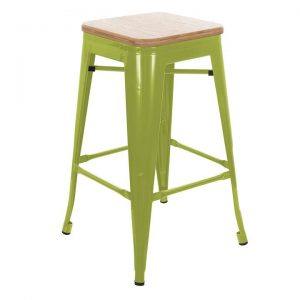 Replica Tolix Wooden Seat Bar Stool, 66cm