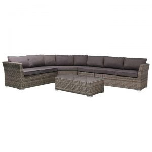 Reston 5 Piece Wicker Outdoor Modular Corner Lounge Set, 6 Seater