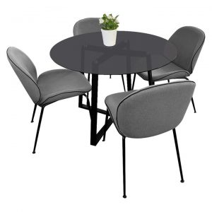 Akira 5 Piece Round Dining Table Set, 120cm, with Beetle Chair
