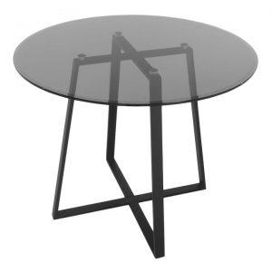 Akira Round Dining Table, 120cm, Smokey Grey / Black