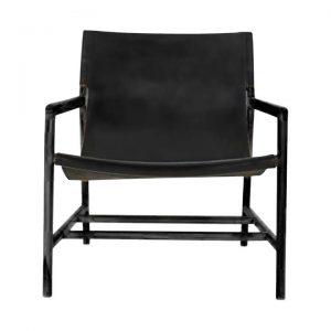 Ayun Leather Sling Armchair, Black