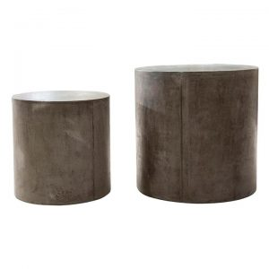 Doloma 2 Piece Concrete Indoor / Outdoor Round Stool / Side Table Set