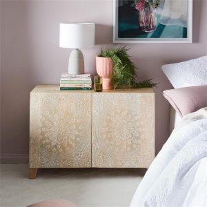 Adairs Sahana Timber Furniture 2 Door Sideboard Natural
