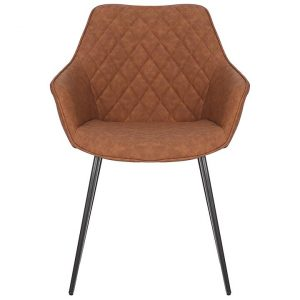 Aaric Commercial Grade Faux Leather Dining Armchair, Tan