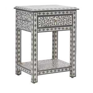 Adairs Babylon Furniture Bedside Table 1 Drawer/1 Shelf White/Grey - Whitegrey