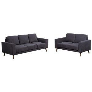 Adina 2 Piece Fabric Sofa Set, 3+2 Seater, Licorice