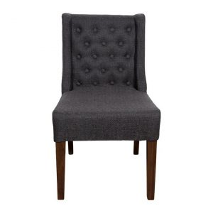 Florence Linen Fabric Dining Chair, Charcoal