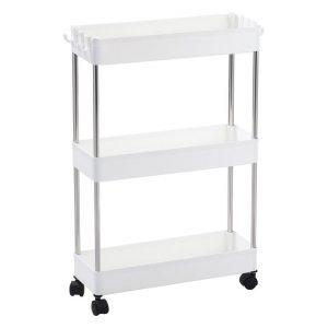 3-Tier Storage Organiser Trolley Plastic White Sherwood