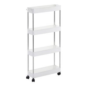 4-Tier Storage Organiser Trolley Plastic White Sherwood