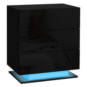 Abdul 3-Drawer LED Bedside Table Chipboard Assorted Resort Living