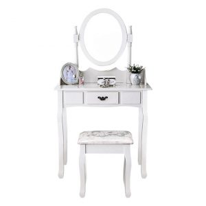 Antoine Dressing Table & Stool MDF White Levede