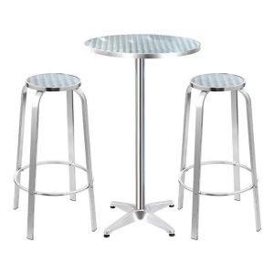 Arendt 3-Piece Bar Stools and Round Table Set, Silver Metal Frisse Outdoors