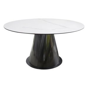 Armin Ceramic & Glass Dining Table Marbleised White Bay Road Designs