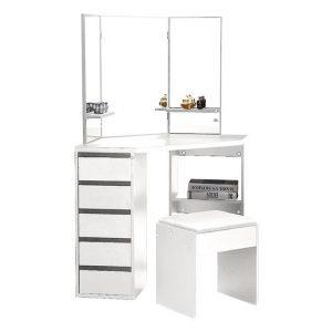 Arndell Corner Dressing Table and Stool MDF White Levede