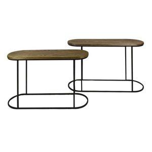 Asya 2 Piece Oval Console Table Set, 120cm