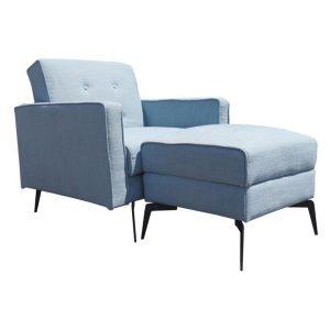 Attiq Single Sofa Bed, Light Blue Polyester HEQS
