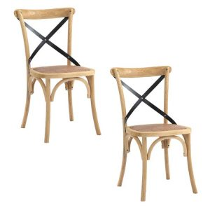 Barton Set of 2 Wooden Dining Chairs Beech Assorted Emporium Oggetti