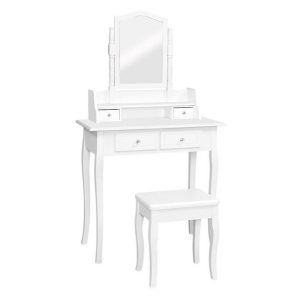 Beverley Dressing Table with Stool MDF White Resort Living