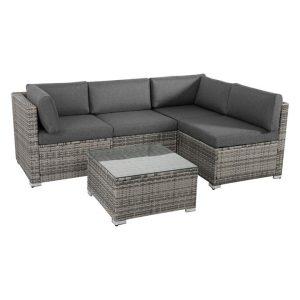Bondi 5-Piece Modular Outdoor Lounge Set Polyethylene Grey/Black Dreamo Living