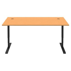 Boost Electric Height Adjustable Office Desk, Cable Entry Hole Top, 150cm, Beech / Black