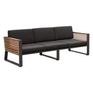 Caribbean Teak Outdoor 3 Seater Sofa Metal Charcoal Indosoul