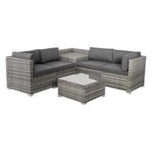 Coogee 6-Piece Modular Outdoor Lounge Set Polyethylene Grey/Black Dreamo Living