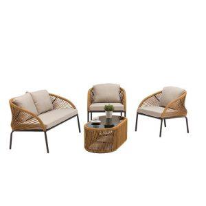 Denisse 4-Piece Outdoor Sofa Set Metal Natural HelloFurniture