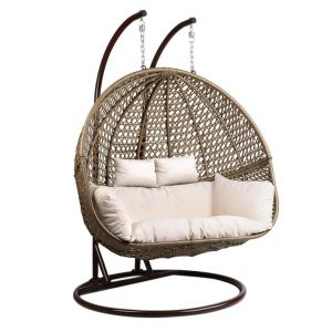 Fania 2 Seater Hanging Pod Chair Metal Black Frisse Outdoors