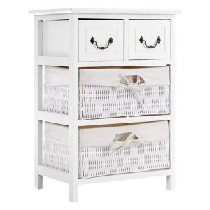 Fanucci Chest of 2 Drawers & 2 Baskets Wood White Resort Living