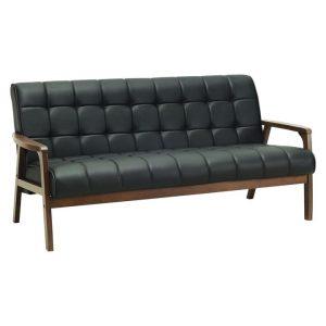 Firn 3 Seater Sofa, Faux Leather Vinyl Espresso Simpel