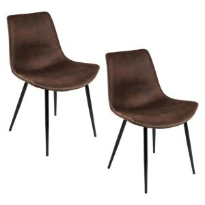 Gainesville Dining Chair (Set of 2) Fabric Brown/Black Living by Design