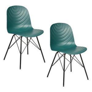 Hayden Set of 2 Dark Green Dining Chairs Plastic New Oriental