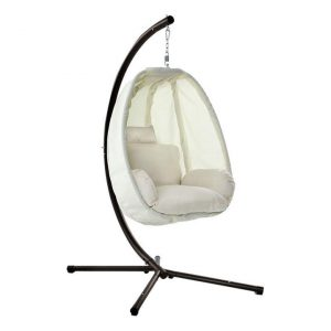 Kenway Hanging Pod Swing Chair with Stand, Cream Polyester Frisse Outdoors