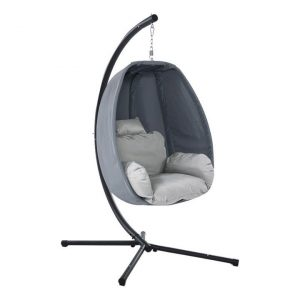 Kenway Hanging Pod Swing Chair with Stand, Grey Polyester Frisse Outdoors