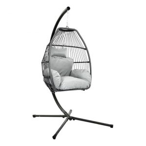 Kenway Rattan Double Hanging Pod Chair, Grey Resin Frisse Outdoors